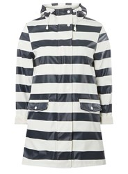 Dorothy Perkins Navy And White Striped Button Front Raincoat Blue