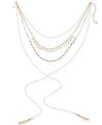 Inc International Concepts Gold Tone Multi Layer Beaded Lariat Choker Necklace 12 3 Extender Created For Macy's