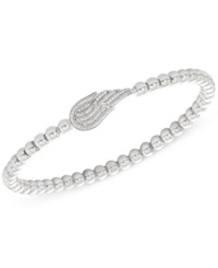 Wrapped Diamond 1 6 Ct. T.W. And Bead Angel Wing Stretch Bracelet In Sterling Silver