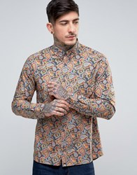 Pretty Green Gretton Shirt Paisley Print Buttondown Paisley Black