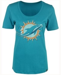 47 Brand '47 Women's Miami Dolphins Lux Sequins Scoop T Shirt Teal