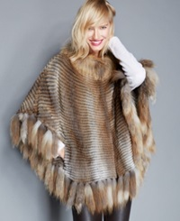 The Fur Vault Muskrat And Red Fox Fur Poncho Natural