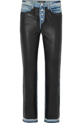 Amiri Paneled Leather And Denim High Rise Straight Leg Jeans Black