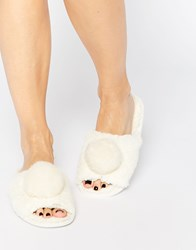 Asos No You Didn't Pom Slippers White