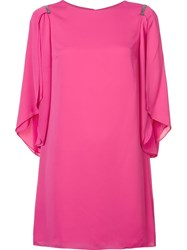 Halston Heritage Draped Sleeves Shift Dress Pink And Purple