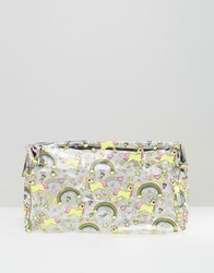 Asos Oversized Unicorn And Rainbow Clear Make Up Bag Multi
