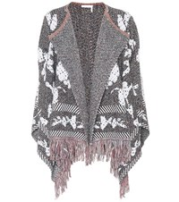 See By Chloe Fringed Cotton Blend Cardigan Multicoloured