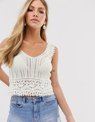 Mango V Neck Knitted Top In Off White