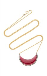 Noor Fares Chandra Cresent Pendant In Yellow Gold With Garnet And Diamonds Red