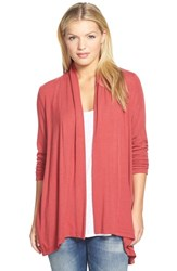 Petite Women's Bobeau Long Cardigan Red Beauty