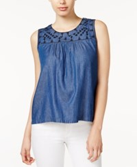 Maison Jules Embroidered Chambray Top Only At Macy's Medium Wash