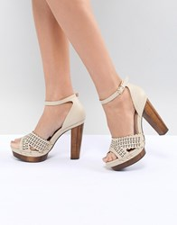 Miss Selfridge Heeled Studded Clog Beige