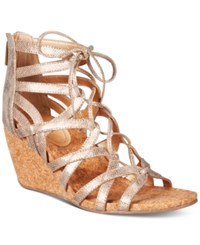 Kenneth Cole Reaction Women's Cake Pop Gladiator Lace Up Wedge Sandals Women's Shoes Soft Gold