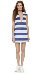 Jacquemus V Neck Dress Blue White Stripe