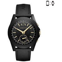 Armani Exchange Connected 'S Hybrid Silicone Strap Smartwatch Black