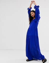 Selected Femme Tiered Maxi Dress With Neck Tie Detail Blue