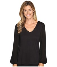 Lilla P Full Sleeve V Neck Black Women's Clothing