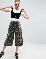 Asos Camo Lace Up Wide Leg Trousers With Badges Camo Print Multi