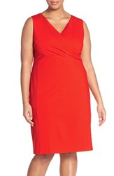 Plus Size Women's Halogen Surplice V Neck Ponte Sheath Dress