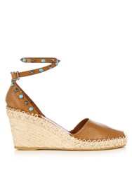 Valentino Rockstud Espadrille Wedge Sandals Tan