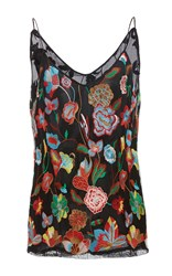 Cynthia Rowley Embroidered Tulle Camisole Print