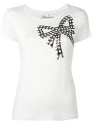 Blumarine Sequin Ribbon T Shirt White