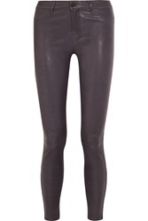 J Brand Stretch Leather Leggings Purple
