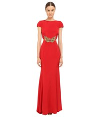Marchesa Crepe Gown W Side Cut Outs Red