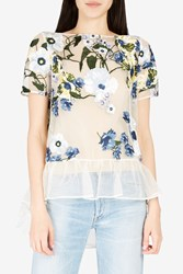Erdem Women S Noelle Floral Embroidered Top Boutique1 Yellow Ivry