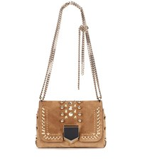 Jimmy Choo Lockett Petite Suede Shoulder Bag Brown