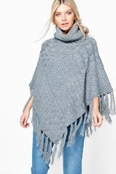 Boohoo Chunky Cable Knit Roll Neck Poncho Charcoal