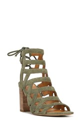 Sarto By Franco Sarto Women's Connie Block Heel Cage Sandal Light Green Suede