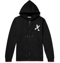 Alyx Printed Fleece Back Cotton Blend Jersey Zip Up Hoodie Black
