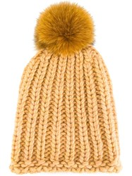 Danielapi Pompom Knit Beanie Nude And Neutrals