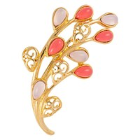 Susan Caplan Vintage 1980S Trifari Gold Plated Lucite Cabochon Flower Brooch Pink Gold