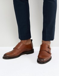 Selected Homme Leather Double Monk Shoes Brown