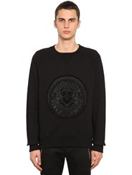 Balmain Flocked Coin Cotton Jersey Sweatshirt Black