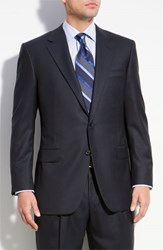 Men's Big And Tall Hickey Freeman 'Addison A Series' Wool Suit Navy