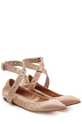 Valentino Leather Ballet Flats With Ankle Straps Beige