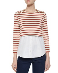 Veronica Beard Anchor Combo Striped Jersey And Cotton Poplin Top