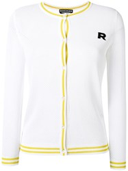 Rochas Perforated Buttoned Cardigan White