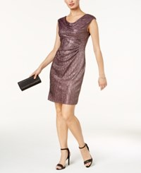 Connected Petite Metallic A Line Dress Gunmetal