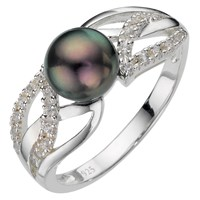 A B Davis Sterling Silver Black Pearl Cubic Zirconia Ring N