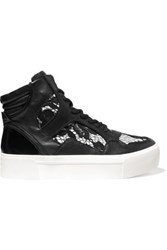 Dkny Bosley Leather And Lace High Top Sneakers Black