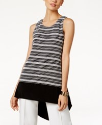 Alfani Striped High Low Top Only At Macy's Black White Vertical Stripe