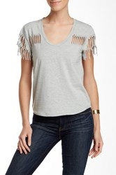 Fate Distressed Scoop Neck Tee Gray