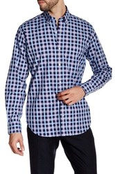 Tailorbyrd Navy Plaid Long Sleeve Woven Shirt Blue