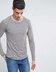 Only And Sons Long Sleeve T Shirt With Raglan Sleeves In Stripe Grey Pin