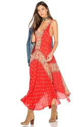 Free People Faithfully Yours Slip Dress Red
