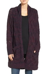 Hinge Women's Texture Stitch Open Cardigan Burgundy Stem Combo